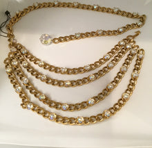 Load image into Gallery viewer, Chanel Vintage 1989 Crystal MultiStrand Chain Belt Gold Metal