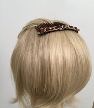 Load image into Gallery viewer, Chanel Bordeaux Burgundy Leather Hair Decorative  Accessory Comb Barrette Gold CC Logos