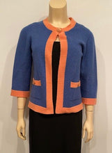 Load image into Gallery viewer, Chanel 07P 2007 Spring Dusty Blue Peach Trim Cashmere Cardigan Sweater FR 38 US 4