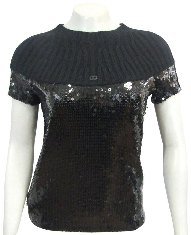 Chanel 07A Fall Autumn Black Sequins Short Sleeve ribbed cashmere sweater top blouse FR 38 US 4