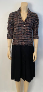 Vintage Chanel 98A, 1998 Fall Boucle Black/Pink Dress FR 38
