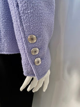 Load image into Gallery viewer, NWT New with Tags Chanel 98P, 1998 Spring Vintage Lilac/Blue double breasted jacket blazer FR 40