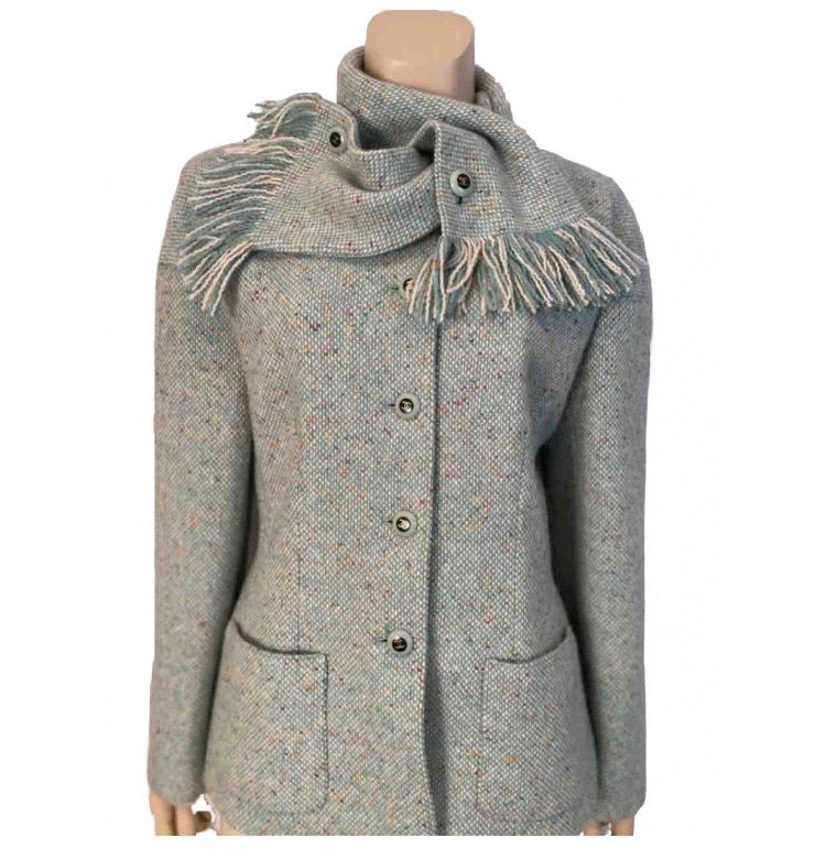 Chanel Pastel Green Wool Tweed Jacket with removable Scarf US 4/6/8