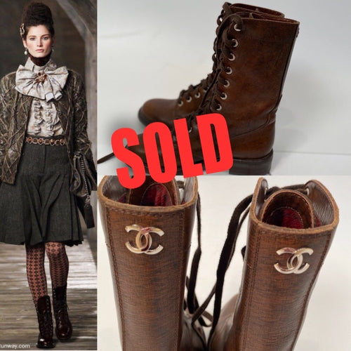 Chanel 13A Paris Edinburgh Brown Leather Lace Up Engineer Boots EU 39