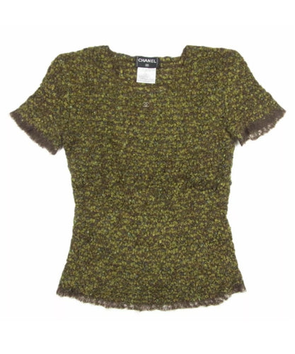Vintage Chanel 98A, 1998 Fall tweed wool pullover short sleeve olive mohair sweater top blouse FR 42 US 6/8/10