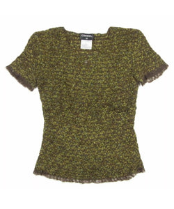 Vintage Chanel 98A tweed wool pullover short sleeve olive mohair sweater top blouse FR 42 US 6/8/10