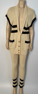 Rare! Vintage Chanel 80's/90's stretchy pants w matching cardigan Striped Ecru and Black FR 40