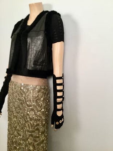 Rare! Chanel Long Fingerless Black Suede leather 08 Gold CC Logos Caged Gloves Sz 7.5