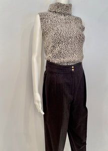 Chanel 04A Cashmere Brown Cable Knit Tweed Sweater Top FR 36 US 4