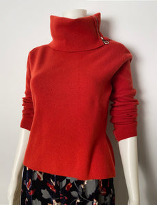 Chanel Identification 00A Fall Autumn Rust turtleneck Cashmere Sweater Top FR 40 US 4
