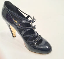 Load image into Gallery viewer, Chanel Navy Blue Patent Leather Quilted Gold Mary Jane Wedge Strap Heels 07A Fall Novelty Buckled Pumps EU 38 US 7/7.5