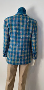 Rare Chanel 93P, 1993 Spring Vintage Turquoise Pink Tweed Jacket FR 40 US 4/6