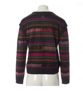 Chanel 12A RTW striped multicolor beaded Strass wool oversized pullover jumper sweater FR 38