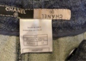 Vintage Chanel 99P, 1999 Spring denim blue jeans pants trousers FR 38