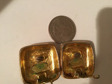 Load image into Gallery viewer, 1988 Chanel vintage oversized Square Gold Metal CC Logo Clip on Earrings