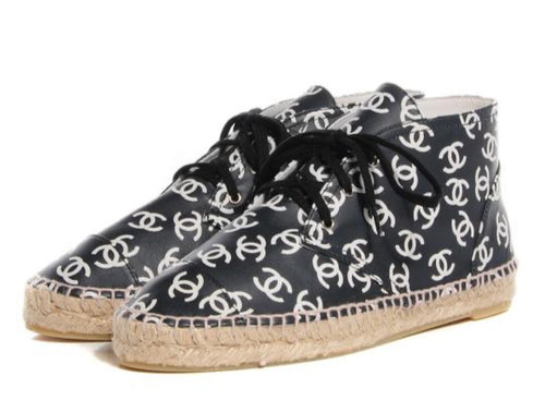 Chanel 15S, 2015 Summer Hightop CC logo Leather Espadrille sneakers EU 38 US 7.5/8
