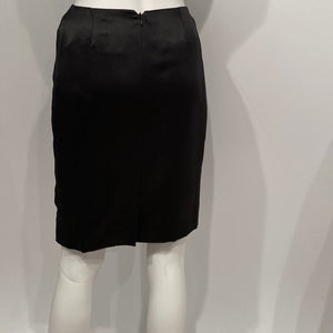 Vintage Chanel 99A, 1999 Fall Satin Black Pencil Skirt FR 36 US 2/4