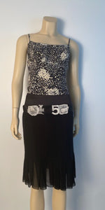 Vintage Chanel 02A, 2002 Fall Silk with Pearl trim CC logo Camisole Blouse Top FR 40