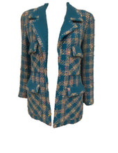 Load image into Gallery viewer, Rare Chanel 93P, 1993 Spring Vintage Turquoise Pink Tweed Jacket FR 40 US 4/6