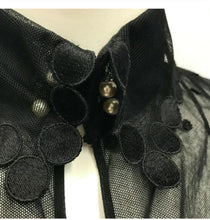 Load image into Gallery viewer, Chanel 04P Spring Black Sheer Lace Bow tie Pearl Top Blouse US 6