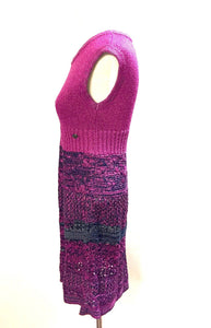 Chanel knit Pink raspberry navy blue gray  Dress FR 42 US 6/8
