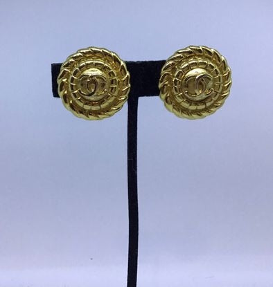 Chanel Vintage 1989 Clip on Round Gold Metal CC logo Earrings