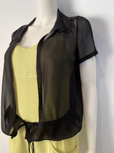 Load image into Gallery viewer, Chanel 04C Black Silk Chiffon Short Sleeve Sheer Drawstring Blouse Top FR 36 US 2/4
