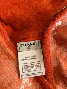 Chanel is 08C Salmon Coral Orange Sequin Terry Cloth Bomber Jacket FR 40