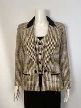 Load image into Gallery viewer, Chanel 02P, 2002 Spring pastel olive green Black Beige Tweed Vest attached jacket Blazer FR 36