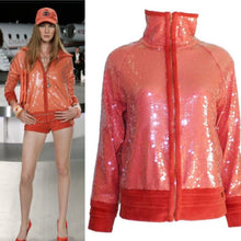 Load image into Gallery viewer, Chanel 2008 Cruise 08C Salmon Coral Orange Sequin Terry Cloth Bomber Jacket FR 40