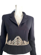 Load image into Gallery viewer, Rare Chanel 02A 2002 Fall Navy Blue Fitted Jacket with Crystal Embellishments FR 40 US 4/6