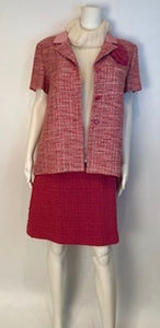 Vintage Chanel 02P, 2002 Spring Pink/Red Short Sleeve Tweed Jacket FR 42