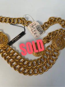 NWT New Chanel 94A gold medallion chain strand belt necklace accessory