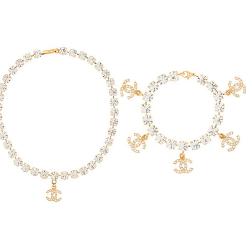 Chanel 96P Vintage Gold Metal Crystals CC Bracelet Necklace Set