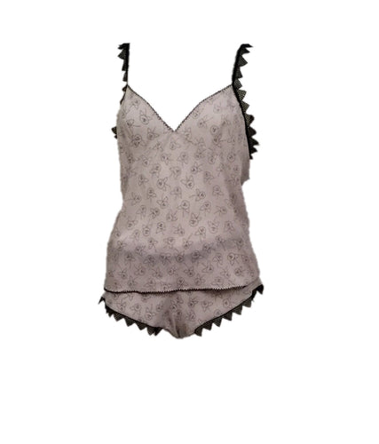 Chanel Vintage 03A Silk Lingerie 2 Piece sleepwear set boy short tank top camisole FR 40 US 6