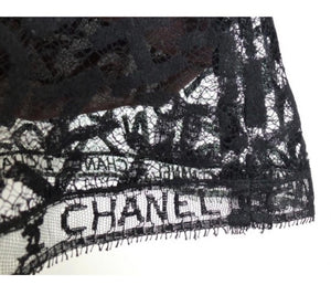 Rare! Chanel Vintage 98A Fall Logo Black Lace Tank top Blouse Camisole Skirt Set FR 38 US 4