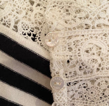 Load image into Gallery viewer, Chanel 05P, 2005 Spring Spaghetti Strap Camisole Lace Crochet Striped Top Blouse FR 38