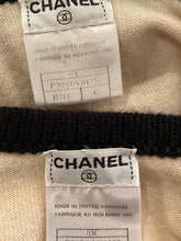 Load image into Gallery viewer, Vintage Chanel 03C, 2003 Cruise Resort Ivory Black 2 piece knit dress and vest FR 42 US 6