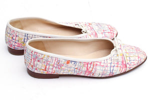 Chanel fabric multicolor ballet ballerina flats EU 38