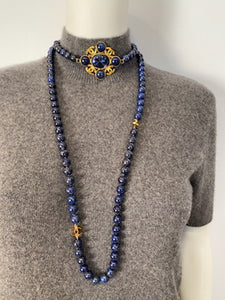 95A, 1995 Fall Vintage Chanel Long Strand Blue Gold Stone CC Necklace