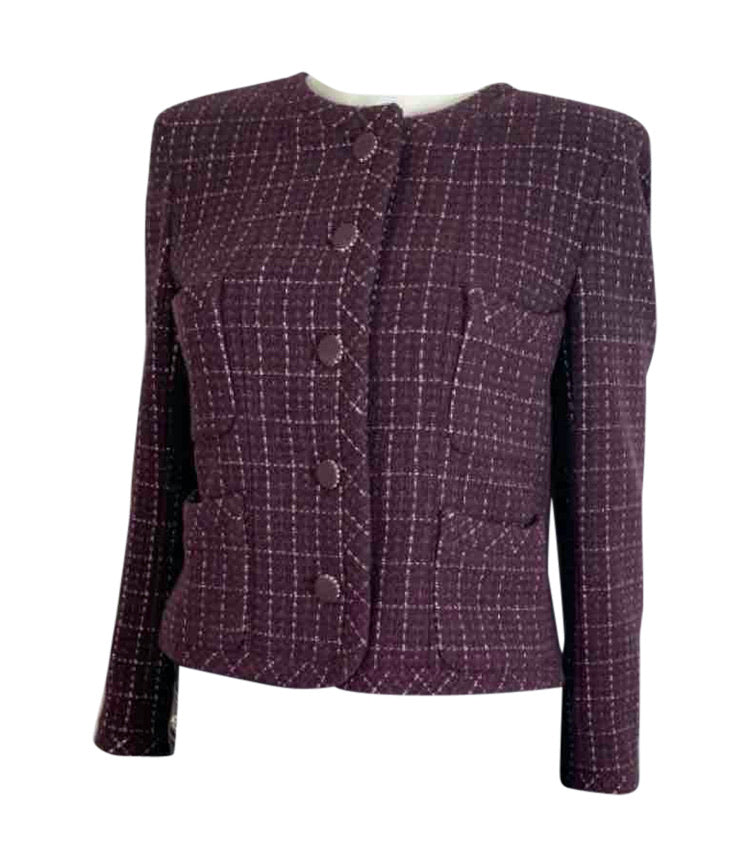 Chanel 02P 2002 Spring Maroon Tweed Jacket FR 42 US 6