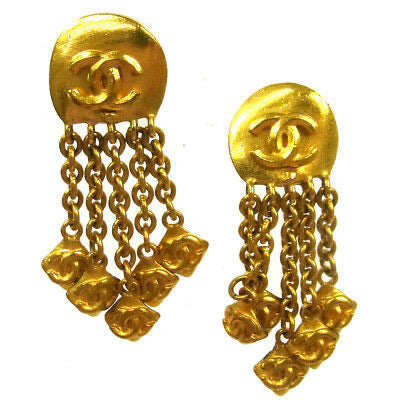 Loose clasp-needs repair-not in any collection-Chanel 96p dangle fringe gold plated CC clip on earrings
