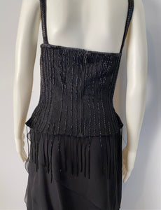 Vintage Chanel 00A, 2000 Fall Autumn Black Tassel Beaded Tube Camisole Top Blouse FR 40 US 4
