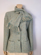 Load image into Gallery viewer, Chanel Pastel Green Wool Tweed Jacket with removable Scarf US 4/6/8