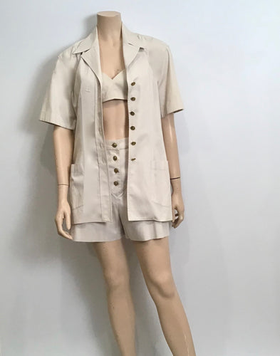 Vintage Chanel Khaki Safari Shorts Cropped Bra Top Jacket Cotton 1980 Extremely Rare 3 Piece Set US 4/6
