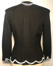 Load image into Gallery viewer, Chanel 03P Spring Black Pearl Scallop Trim wool Cardigan Jacket FR 38 US 4
