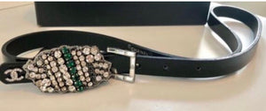 Chanel 2006 Fall 06A skinny  Black Patent  Leather waist Crystal Buckle Belt SZ 36