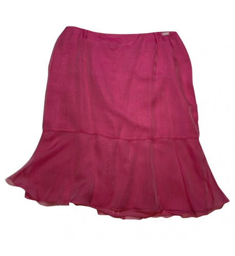 Chanel Vintage 01C, 2001 Cruise Resort Silk Pink Skirt FR 38 US 4