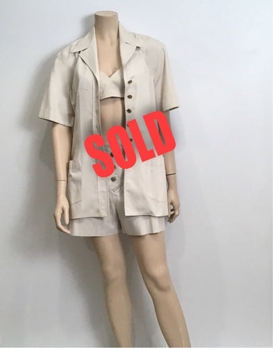 1980 Vintage Chanel Khaki Safari Shorts Cropped Bra Top Jacket Cotton Extremely Rare 3 Piece Set US 4/6
