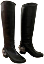 Load image into Gallery viewer, Chanel 07 Paris Monte Carlo Collection Lions Head Icon tall black leather riding boots EU 39.5 US 8.5/9